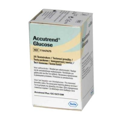 Tesztcsík Accutrend Plus készülékhez, vércukorszint méréshez, 25 db-os